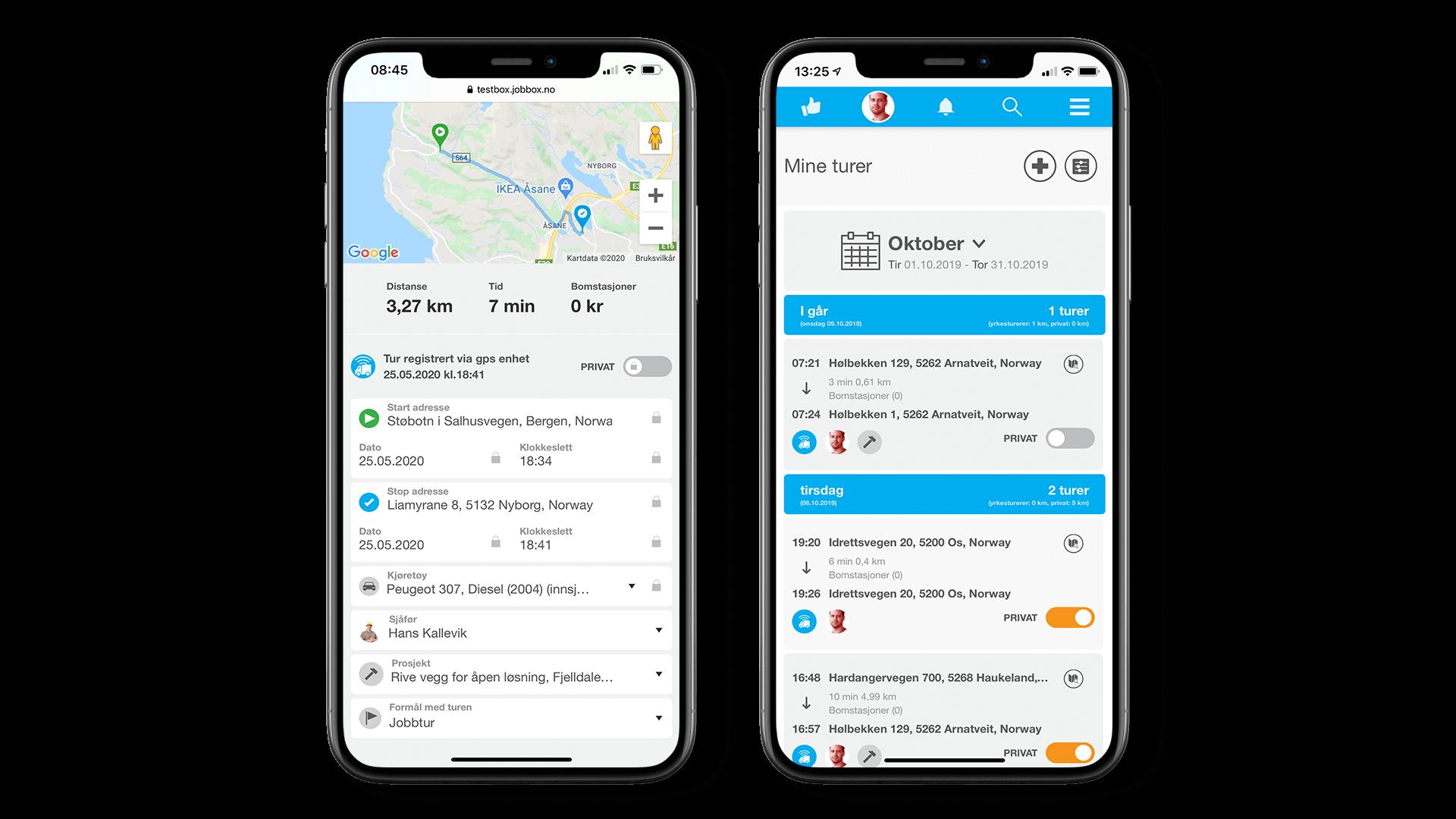 Elektronisk kjørebok med fastmontert GPS-enhet  Automatisk utregning av distanse og bompasseringer  Oppfyller skatteetatens krav til kjørebok